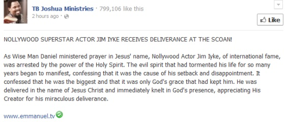 Photos: Jim Iyke Receives Deliverance At Tb Joshua ,s Synagogue Church