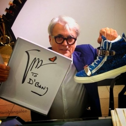 D'banj gets Guiseppe Zanotti sneakers from the designer himself