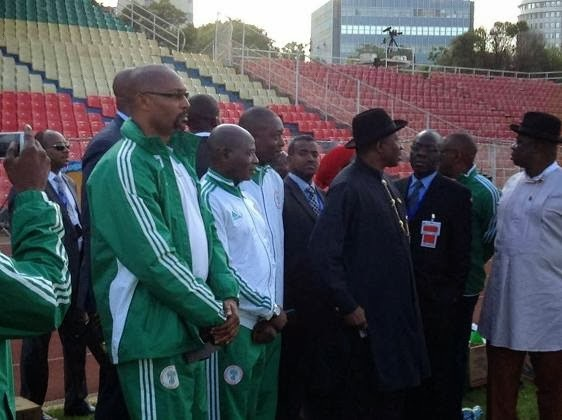 Pics: President Jonathan visits Super Eagles camp in Addis Ababa