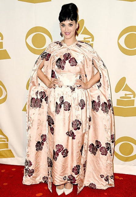 Katy Perry's Weird, Enormous Floral Cape and Dress Combo: So Hot or So Not?